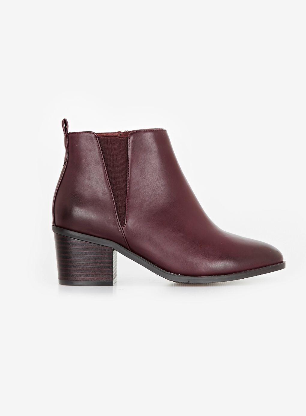 Red Elastic Block Heel Chelsea Boots